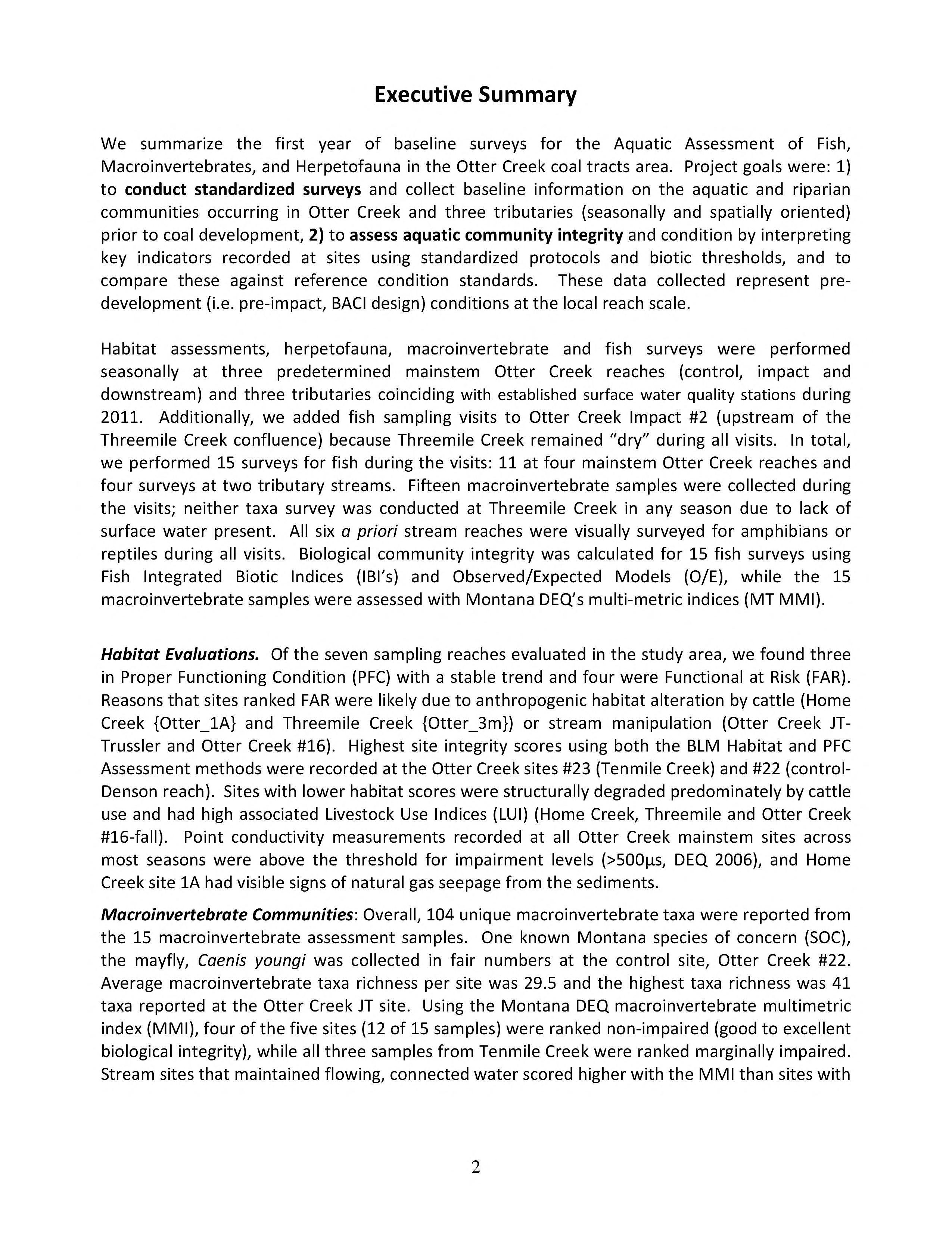 Baseline assessment and analysis of fish, macroinvertebrates and herpetofauna ...
