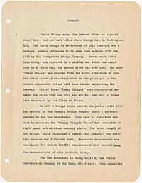 Davis, William B., Jr. -- The history and construction of Chain Bridge